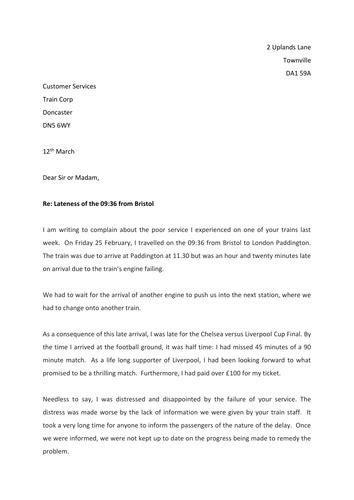 formal letters  complaint  thrichmond teaching