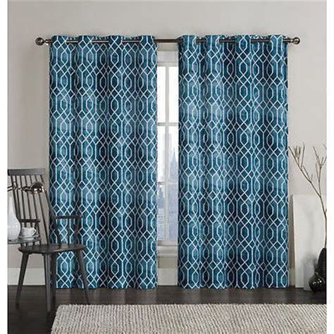 set  curtains panels drapes  grommet blackout light geometric teal blue   curtains