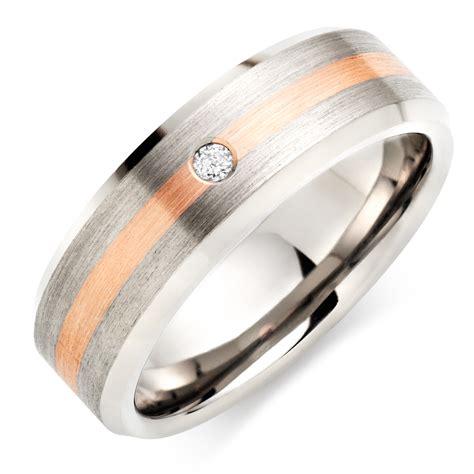 titanium and 9ct rose gold diamond men s wedding ring