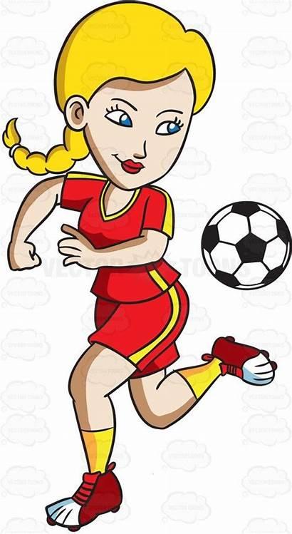 Female Athletes Cartoon Athlete Clipart Ball Soccer