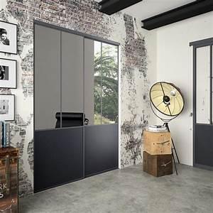 Porte Coulissante Miroir : lot de 2 portes de placard rail coulissante miroir ~ Carolinahurricanesstore.com Idées de Décoration
