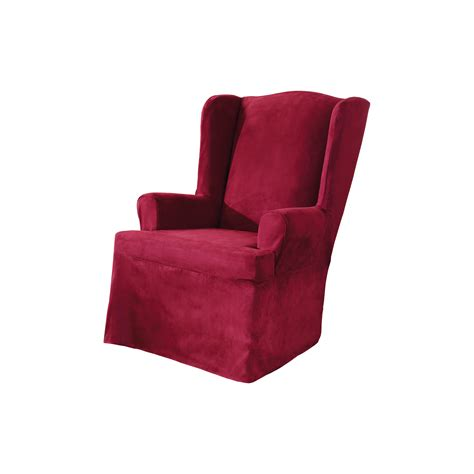 sure fit wing chair slipcover sure fit suede wing chair slipcover reviews