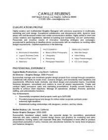 design resume summary resume exle graphic design careerperfect