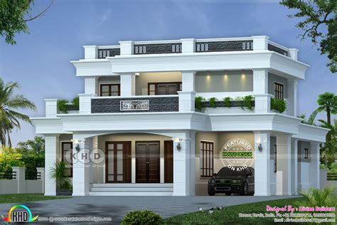 lakhs cost estimated decorative flat roof home kerala home design  floor plans