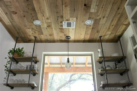 diy reclaimed wood ceiling  cheap  pretty domestic imperfection