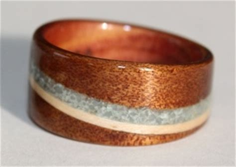 touch wood rings stone  shell inlays