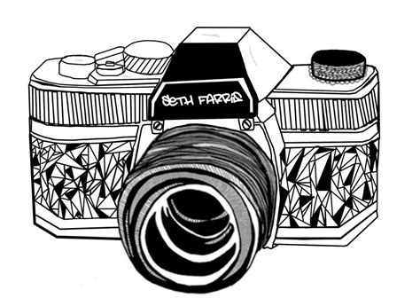 Black and White Camera Drawing