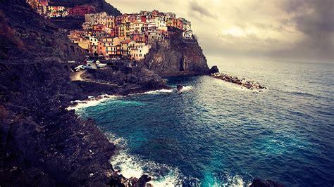 Beautiful Landscape Of Manarola Italy Sea Coast Wallpaper