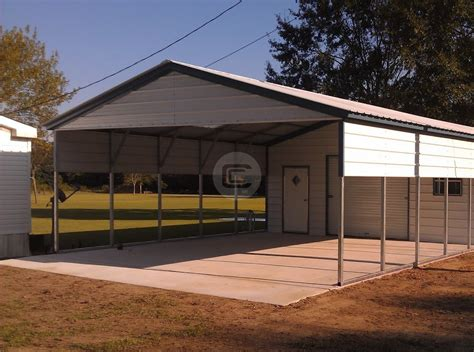 Carport With Storage Shed by 22x56 Vertcal Roof Utility Carport Building Enclosed