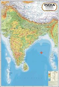 India Physical Map Paper Print