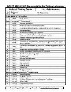 Iso 17025 2017 Documents List For Testing Laboratory
