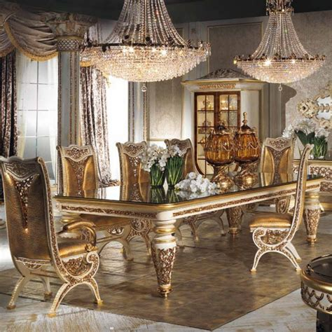 european style refined wood carved decorative dining room
