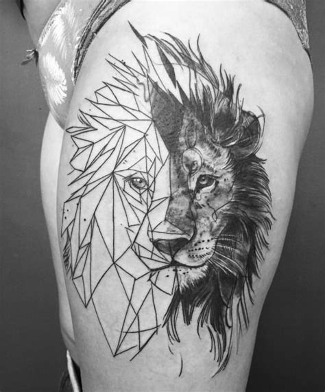 geometric lion tattoo head tattoo design geometric