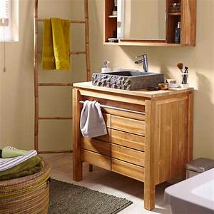meuble salle de bain bois exotique pas cher With meuble de salle de bain en bois exotique pas cher
