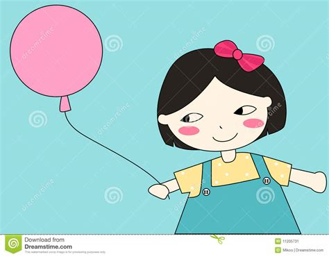 Little Cartoon Girl With Balloon Stock Image
