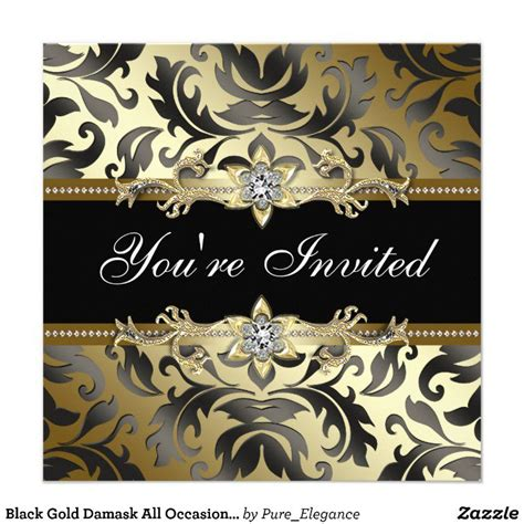 Black And Gold Invitation Templates