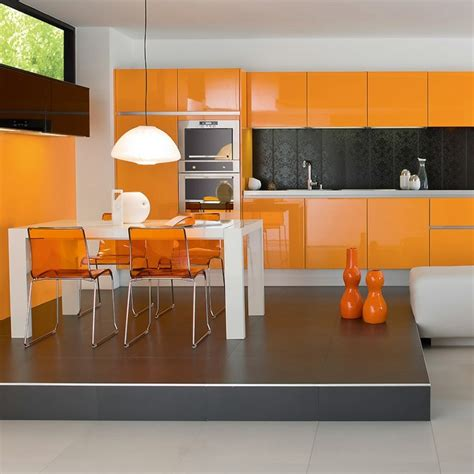 cuisine grise et orange cuisine orange la couleur tonifiante et vive