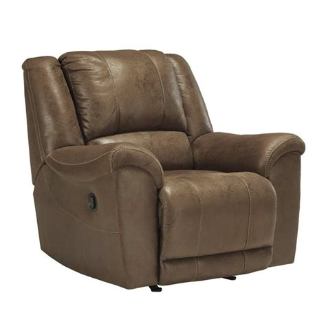 niarobi faux leather rocker recliner in saddle