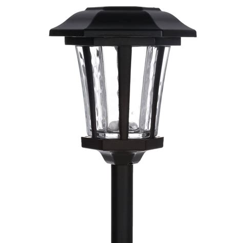 hton bay outdoor solar brushed nickel led walk light
