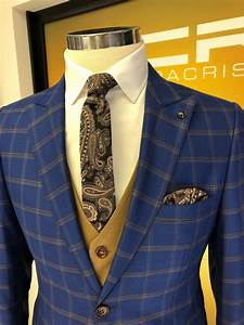 Buy Sax Slim Fit Plaid Suit By Gentwith Com With Free Shipping