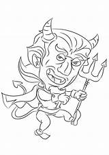 Devil Coloring Cartoon Sneaky Dancing Smiling Evil Vector Funny Lucifer Expressions Depicts Being Male sketch template