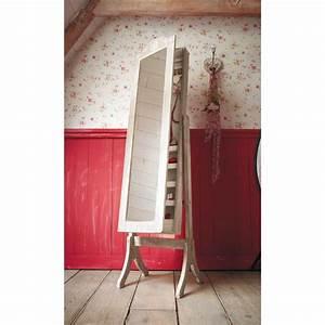 Miroir psyché porte bijoux en bois de paulownia blanchi H 160 cm CAMILLE Maisons du Monde