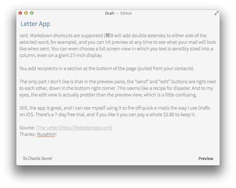 letter  beautiful markdown app   writing emails