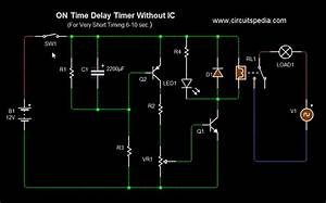 On Delay Timer Circuit Diagram With Relay  Power On Delay Timer Circuit Diagram