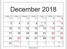 December 2018 Calendar With Holidays yearly printable