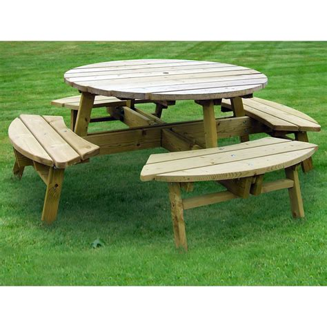 round wooden outdoor table round garden picnic bench pub style 8 seater wooden