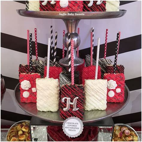 wedding rice krispies treats  red black  white