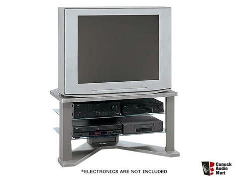 bush furniture  tv stand  glass shelves photo