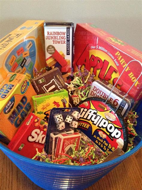 family game night gift basket games candy popcorn for