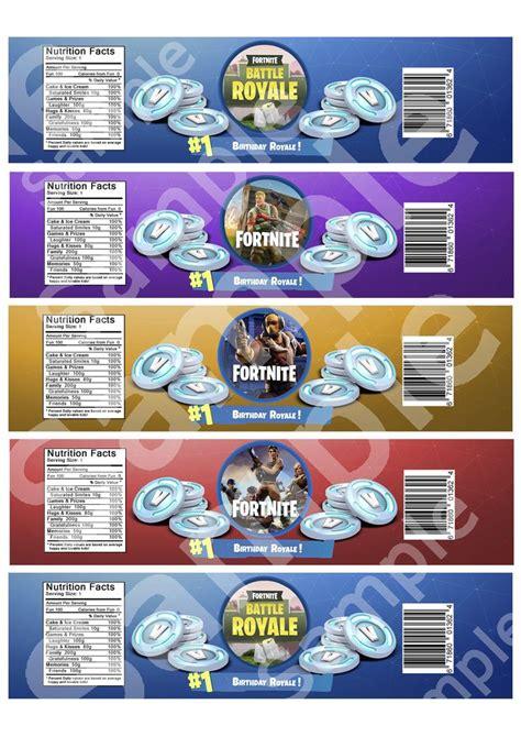 fortnite water bottle label game battle royale gamer kids