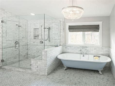 Freestanding Slipper Bathtubs, Gray And Blue Bathroom