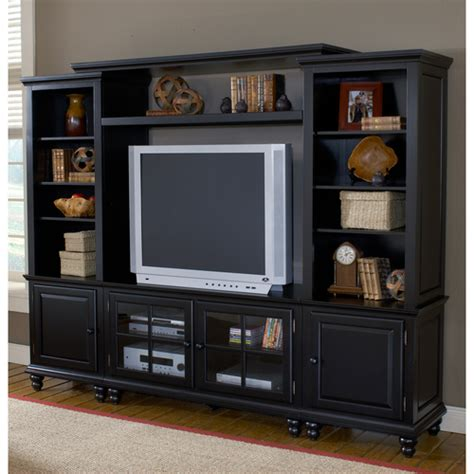 grand bay 96 quot wood tv entertainment wall unit in black