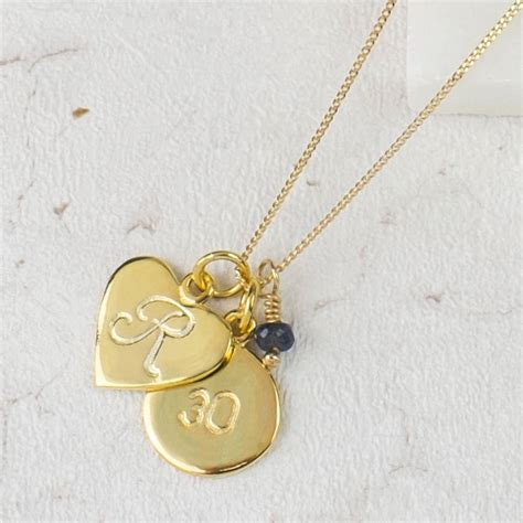 monogram gold vermeil necklace  birthstone  claudette worters notonthehighstreetcom