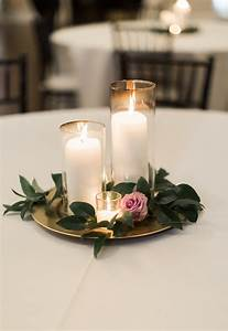 candle wedding centerpiece purple and greenery centerpiece ...