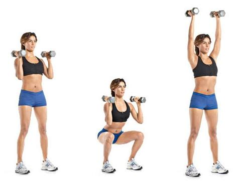 thruster dumbbell thrusters workout dumbbells binge minute another shoulder apart width stand feet