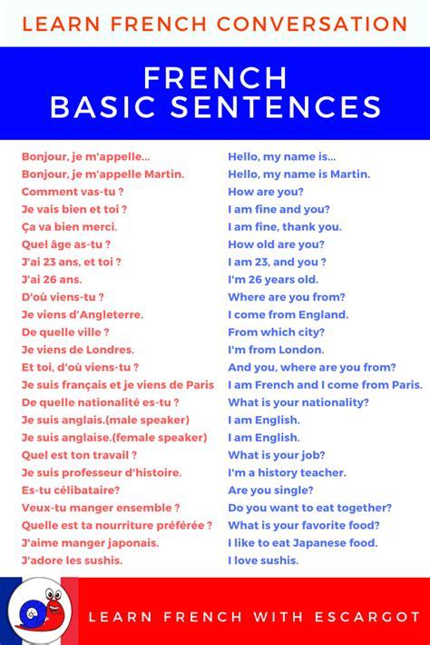 Learn French sentences   Learn french, Learn french ...