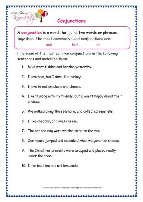 grade 3 grammar topic 19 conjunctions worksheets lets