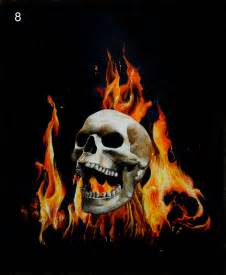 Skull with Flames and Roses