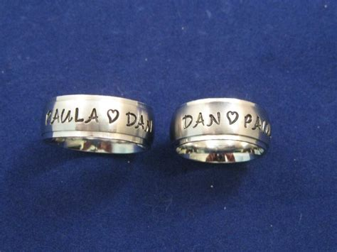 2 stainless steel 8mm personalized couples name ring bands wedding anniversary ebay