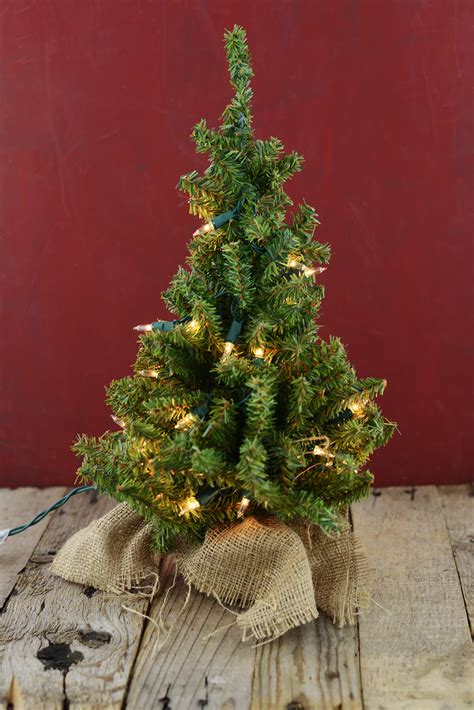 Prelit Artificial 18 Inch Pine Tree Burlap Sack Base