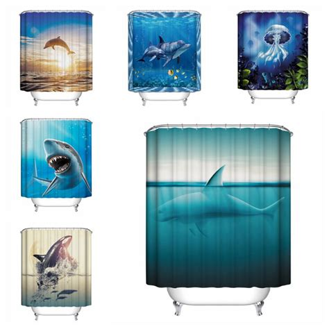 fish theme waterproof shower curtain with 12 hooks
