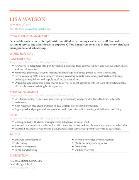 Chronological Resume For Receptionist by Skills And Qualifications Resume Templates Receptionist
