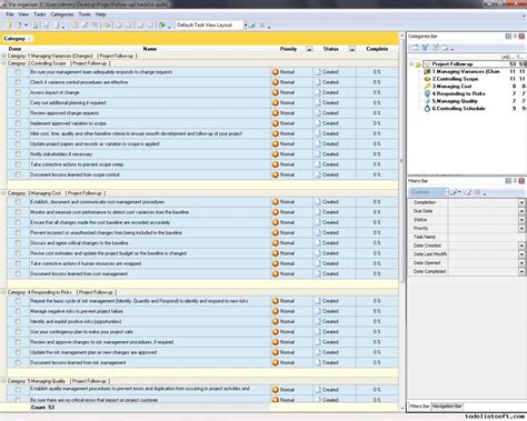 Project Follow Up Template Excel by Project Follow Up Checklist To Do List Organizer