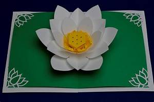 Lotus flower pop up card template for Flower pop up card templates