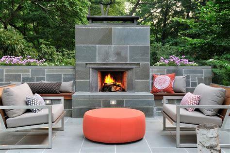 outdoor fireplace  patio midcentury  tile surround