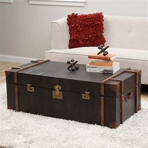 journey black croc embossed leather trunk coffee table With overstock trunk coffee table